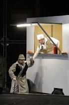 'ULYSSES COMES HOME' (Monteverdi - conductor: Robert Howarth   director: Graham Vick),Ulysses returns in disguise - l-r: Paul Nilon (Ulysses), Adrian Thompson (Eumaeus),Birmingham Opera Company   Plan...