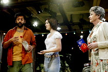 'SANCTUARY' (Gupta) l-r: Nitin Ganatra (Kabir Sheikh), Sarah Solemani (Ayesha Williams), Barbara Jefford (Margaret Catchpole) The Loft / National Theatre, London SE1                29/07/2002
