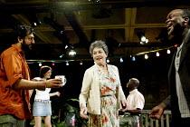 'SANCTUARY' (Gupta) l-r: Nitin Ganatra (Kabir Sheikh), Sarah Solemani (Ayesha Williams), Barbara Jefford (Margaret Catchpole), Leo Wringer (Michael Ruzindana), Eddie Nestor (Sebastian Cruz)  The Lof...