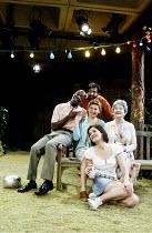 'SANCTUARY' (Gupta) rear: Nitin Ganatra (Kabir Sheikh)   centre, l-r: Leo Wringer (Michael Ruzindana),  Susanna Wise (Jenny Catchpole), Barbara Jefford (Margaret Catchpole)   front: Sarah Solemani (...