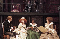 'THE SCHOOL FOR SCANDAL' (Sheridan - director: Declan Donnellan),l-r: Jason O'Mara (Joseph Surface), Celia Imrie (Mrs Candour), Tanya Moodie (Maria), Deborah Findlay (Lady Sneerwell),Royal Shakespeare...