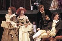 'THE SCHOOL FOR SCANDAL' (Sheridan - director: Declan Donnellan),l-r: Deborah Findlay (Lady Sneerwell), Celia Imrie (Mrs Candour), , Jason O'Mara (Joseph Surface), Stephen Mangan (Sir Benjamin Backbit...