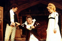 'SHE STOOPS TO CONQUER' (Goldsmith - director: Peter Hall) l-r: (tbc), Miriam Margolyes (Mrs Hardcastle), (tbc) Queen's Theatre, London W1                 25/10/1993