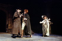 'SHE STOOPS TO CONQUER' (Goldsmith - director: Peter Hall) l-r: Donald Sinden (Mr Hardcastle), David Essex (Tony Lumpkin), Miriam Margolyes (Mrs Hardcastle) Queen's Theatre, London W1...