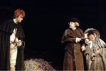 'SHE STOOPS TO CONQUER' (Goldsmith - director: Peter Hall) l-r: David Essex (Tony Lumpkin), Donald Sinden (Mr Hardcastle), Miriam Margolyes (Mrs Hardcastle) Queen's Theatre, London W1...