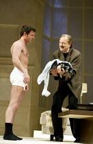 'SLEUTH' (Shaffer)~l-r: Gray O'Brien (Milo Tindle), Peter Bowles (Andrew Wyke)~Apollo Theatre, London W1                     10/07/2002