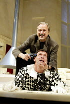 'SLEUTH' (Shaffer)~(top) Peter Bowles (Andrew Wyke), Gray O'Brien (Milo Tindle)~Apollo Theatre, London W1                     10/07/2002