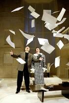 'SLEUTH' (Shaffer)~l-r: Peter Bowles (Andrew Wyke), Gray O'Brien (Milo Tindle)~Apollo Theatre, London W1                     10/07/2002