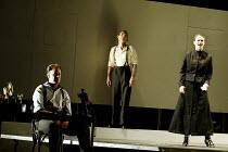 'THE ELECTRIFICATION OF THE SOVIET UNION' (Osborne/Raine) l-r: Gwion Thomas (Boris Pasternak), Jeremy Huw Williams (Serezha Spectorsky), Marianne Andersen (Anna Arild) Music Theatre Wales/Opera Vest...
