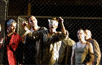 'FIDELIO' (Beethoven)~prisoners temporarily released into daylight~Glyndebourne Festival Opera, E.Sussex, England  17/05/2001
