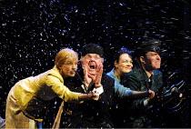 'PARADISE MOSCOW' (Shostakovich)~driving across Moscow~l-r: Janie Dee (Lidochka), Steven Beard (Baburov), Gillian Kirkpatrick (Masha), Alan Oke (Sergei) ~Opera North, Leeds   03/05/2001