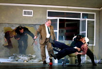 'PARADISE MOSCOW' (Shostakovich)~Barabashkin bursts into Masha and Sasha's new appartment~l-r: Margaret Preece (Vava), Richard Angas (Drebednyov), Campbell Morrison (Barabashkin), Alan Oke (Sergei), R...
