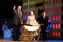 'PARADISE MOSCOW' (Shostakovich)~l-r: Richard Angas (Drebednyov), Janie Dee (Lidochka), Steven Beard (Baburov)~Opera North, Leeds   03/05/2001