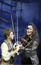'PETER PAN' (J.M.Barrie - director: Steven Dexter)~l-r: Jack Blumenau (Peter Pan), Anthony Head (Captain Hook)~Savoy Theatre, London WC2                  17/12/2003