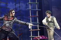 'PETER PAN' (J.M.Barrie - director: Steven Dexter)~l-r: Anthony Head (Captain Hook), Jack Blumenau (Peter Pan)~Savoy Theatre, London WC2                  17/12/2003