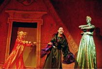 'ALADDIN'~l-r: Rhiannon Howys (Princess So-Shy), Clive Hayward (Abanazar), Stuart Pendred (Genie of the Lamp)~Oxford Playhouse                      02/12/2000