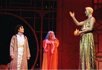 'ALADDIN'~l-r: Claudia Cadette (Aladdin), Kali Peacock (Slave of the Ring), Stuart Pendred (Genie of the Lamp)~Oxford Playhouse  02/12/2000