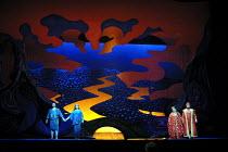 'DIE FRAU OHNE SCHATTEN' (Strauss)~l-r: Alan Titus (Barak), Gabriele Schnaut (Barak's Wife), Deborah Voigt (Empress), Johan Botha (Emperor)~The Royal Opera/Covent Garden, London WC2...