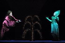 'DIE FRAU OHNE SCHATTEN' (Strauss)~l-r: Deborah Voigt (Empress), Jeni Bern (Guardian of the Threshold) with the Waters of Life~The Royal Opera/Covent Garden, London WC2                      09/10/2001