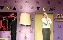 'FROM MORNING TO MIDNIGHT' (Sawer/Kaiser) at the Hotel: (in elevator) John Daszak (Cashier), Kathryn Harries (Lady) English National Opera, London  27/04/2001