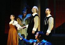 'GALILEO GALILEI' (Glass/Zimmerman/Weinstein)~l-r: Elizabeth Reiter (Young Maria Celeste), Carl Halvorson (Older Galileo), Eugene Perry (Younger Galileo)~The Goodman Theatre / BITE:02   Barbican Theat...