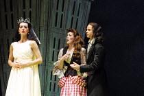 'IOLANTHE' (Gilbert & Sullivan)~l-r: Maria Jones (Iolanthe), Charlotte Page (Phyllis), Paul A Heywood (Strephon)~D'Oyly Carte/Savoy Theatre, London WC2      20/02/2002