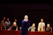 'THE LAST SUPPER' (Birtwistle/Blaser) centre: Susan Bickley (Ghost)    2nd from right:William Dazeley (Jesus) Glyndebourne Festival Opera                 04/08/2001