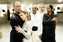 'NATHAN THE WISE' (Gotthold Lessing/Edward Kemp)~l-r: Michael Feast (Nathan), Kay Curram (Rachel), Jeffery Kissoon (Saladin), Geoffrey Streatfield (Conrad), Noma Dumezweni (Sittah)~Minerva Theatre / C...