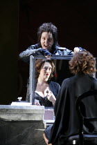 AGRIPPINA   by Handel   conductor: Daniel Reuss   director: David McVicar <br>,top: Christine Rice (Nerone / Nero)   reflected in mirror: Sarah Connolly (Agrippina),English National Opera / London Col...