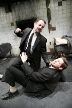 THE DUMB WAITER   by Harold Pinter   director: Harry Burton <br>,l-r: Jason Isaacs (Ben), Lee Evans (Gus),Trafalgar Studios 1, London SW1                       08/02/2007        ,