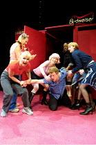 'THE SHAGAROUND' (Nevill) l-r: Toyah Willcox (Beth), (rear) Luisa Bradshaw-White (Lisa), Veronica Quilligan (Dilly),  Matthew Cullum (Matt), Diane Parish (G), Elizabeth Berrington (Sal) Soho Theatr...
