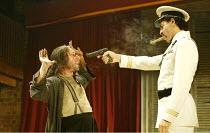 'THE MALCONTENT' (Marston)~l-r: Antony Sher (Giovanni Altofronto, deposed Duke of Genoa disguised as Malevole), Joe Dixon (Mendoza)~RSC/Swan Theatre, Stratford-upon-Avon               20/08/2002