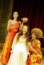 'THE MALCONTENT' (Marston)~l-r: Sasha Behar (Bianca), Caroline Faber (Emilia), Claire Benedict (Maquerelle)~RSC/Swan Theatre, Stratford-upon-Avon               20/08/2002