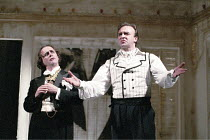 'THE MARRIAGE OF FIGARO' (Beaumarchais, in a new translation & adaptation by Ranjit Bolt - director: Lou Stein),l-r: Sylvester McCoy (The Count), John Bowe (Figaro),Palace Theatre Watford / England...