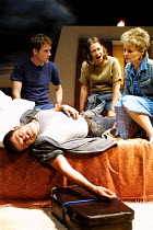 'A LIE OF THE MIND' (Shepard)~(on bed) Andy Serkis (Jake)  ~l-r: Peter McDonald (Frankie), Nicola Walker (Sally), Sinad Cusack (Lorraine)~Donmar Warehouse, London WC2    04/07/2001