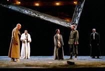 'LIFE IS A DREAM' (de la Barca) (director: Calixto Bieito) l-r: George Anton (Segismundo), Jeffery Kissoon (Basilio), Olwen Fouere (Rosaura), Simon Turner (Soldier), Nicholas Bailey (Astolfo) Royal...
