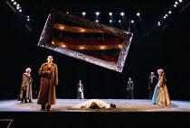 'LIFE IS A DREAM' (de la Barca) (director: Calixto Bieito) l-r: Sylvester Morand (Clotaldo), George Anton (Segismundo), Olwen Fouere (Rosaura), (face down, on stage) Jeffery Kissoon (Basilio),  Simo...