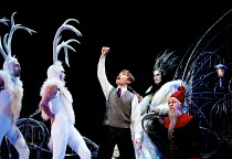 THE LION, THE WITCH AND THE WARDROBE  by C.S.Lewis  dramatised by Adrian Mitchell  design: Anthony Ward  lighting: Mark Henderson  director: Adrian Noble ~l-r: (Reindeer), Jonathan Broadbent (Edmund),...