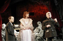 'THE LUNATIC QUEEN' (Torben Betts - director: Tim Stark),l-r: Adrian Rawlins (Doctor), Siobhan Redmond (Isabella), Pip Donaghy (Ferdinand),Riverside Studios, London W6        02/03/2005,