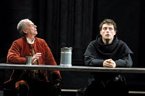 LUTHER  by John Osborne  design: Alison Chitty  lighting: Peter Mumford  director: Peter Gill ~l-r: Geoffrey Hutchings (Hans - Luther's father), Rufus Sewell (Martin Luther)~Olivier Theatre/Royal Nati...