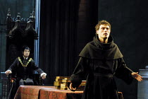 LUTHER  by John Osborne  design: Alison Chitty  lighting: Peter Mumford  director: Peter Gill ~Luther is asked to renounce his writings - l-r: Neil Stacy (Johannes von Eck), Rufus Sewell (Martin Luthe...