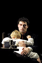 Luther and son: Jonathan Thomas-Davies (Hans the younger), Rufus Sewell (Martin Luther) in LUTHER by John Osborne at the Olivier Theatre, National Theatre (NT), London SE1  05/10/2001  design: Alison...