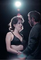 'THE CENSOR' / B18 Raquel Cassidy (Miss Fontaine), Alastair Galbraith (The Censor) Royal Court / Duke of York's, London WC2  05/06/1997