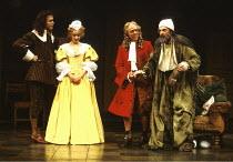 'THE HYPOCHONDRIAC' / 'Le Malade Imaginaire' (Molire)~l-r: Nicholas Selby (Monsieur de Bonnefoi), Emily Morgan (Angelique/Louison), Michael Bryant (Bralde), Daniel Massey (Argan)~Olivier Theatre/Natio...