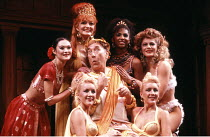 'A FUNNY THING HAPPENED ON THE WAY TO THE FORUM' (Shevelove/Gelbart/Sondheim - director: Larry Gelbart),centre: Frankie Howerd (Pseudolus) ,Piccadilly Theatre, London W1                    14/11/1986,