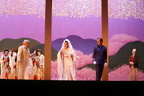 MADAMA BUTTERFLY   by Puccini   conductor: Nicola Luisotti   directors: Moshe Leiser & Patrice Caurier<br>,front, l-r: Alan Opie (Sharpless), Liping Zhang ( Cio-Cio-San), Andrew Richards (B.F.Pinkerto...