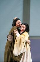 MADAMA BUTTERFLY   by Puccini   ,conductor: Nicola Luisotti   directors: Moshe Leiser & Patrice Caurier<br>,l-r: Elena Cassian (Suzuki), Liping Zhang ( Cio-Cio-San) ,The Royal Opera / Covent Garden, L...