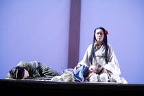 MADAMA BUTTERFLY   by Puccini   conductor: Nicola Luisotti   directors: Moshe Leiser & Patrice Caurier<br>,l-r: Elena Cassian (Suzuki), Alex Roberts (Dolore / Sorrow), Liping Zhang ( Cio-Cio-San) ,The...