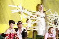 ORFEO   by Monteverdi   conductor: Christopher Moulds   director: Christopher Alden <br>,l-r: Ann Taylor (Prosperina / La Messagiera), Damian Thantrey, Anna St�phany (Euridice / Speranza), James Laing...