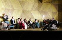 ORFEO   by Monteverdi   conductor: Christopher Moulds   director: Christopher Alden <br>,l-r: Graeme Broadbent (Caronte), James McOran-Campbell, Ann Taylor (Prosperina / La Messagiera), ,Anna St�phany...